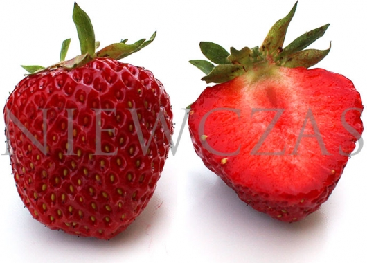 Cut strawberry fruit of Polka